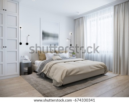 Urban Contemporary Modern Scandinavian Bedroom Interior Design. Mock Up  Gray And White Wall. 3d