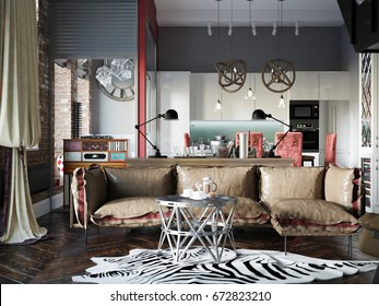 Urban Contemporary Modern Scandinavian Industrial Loft Living room, kitchen and dining room Interior Design Penthouse With Gray Wall and Red Brick Wall. 3d rendering