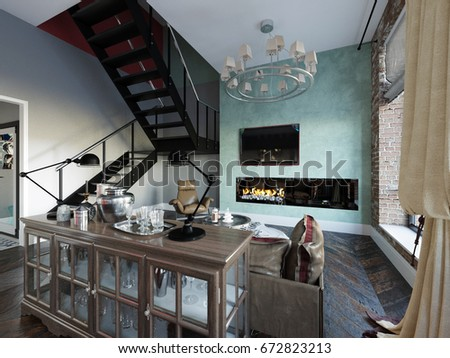Urban Contemporary Modern Scandinavian Industrial Loft Living room kitchen and dining room Interior Design Penthouse & Royalty Free Stock Illustration of Urban Contemporary Modern ...