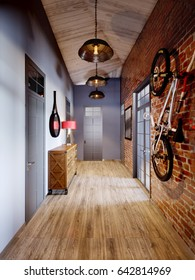Urban Contemporary Modern Scandinavian Loft Hall Interior Design With Red Brick Wall. 3d rendering