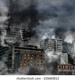 Urban Destruction, illustration of the aftermath of a disaster