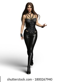 Urban fantasy girl with magic in her hand wearing leather pants and corset - 3D Illustration