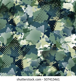 Urban geometric seamless pattern. Camouflage background. Camo textile print with watercolor effect. Colorful fabric swatch. Dotted wallpaper.