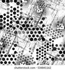 Urban geometric seamless pattern. Sport background with dots, scratches and halftone elements. Dotted textile print. Colorful fabric swatch. Watercolor wallpaper.
