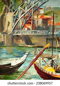 Urban landscape - bridge over the river in the city.Hand illustration - painting tempera on textured paper.
