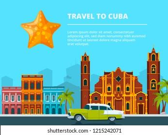 Urban landscape of cuba. Different historical symbols and landmarks. Travel and tourism, cityscape cuba, building city and landscape urban. illustration