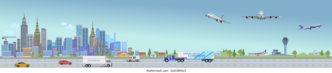 Urban landscape street with city office buildings and car. Airplane Airport Air Fly