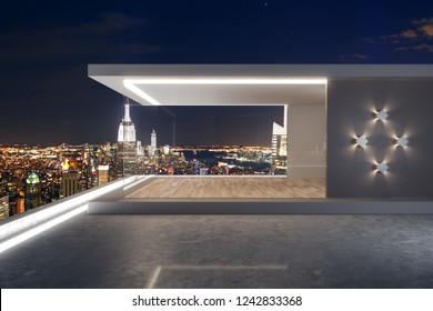 Urban rooftop with night New York city view and abstract glass see through interior. 3D Rendering