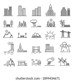 Urban Scenery Elements Black Thin Line Icon Set Isolated on White Background Include of House and Building. illustration