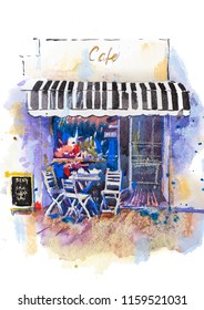 Urban scenic landscape street cafe Watercolor illustration