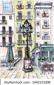 Urban sketch Spain, Catalonia. Travel sketch. Touristic postcard or poster, book illustration. Drawing by hand.