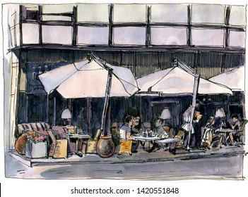 Urban sketch of a street cafe. background. Drawing in watercolor and ink.