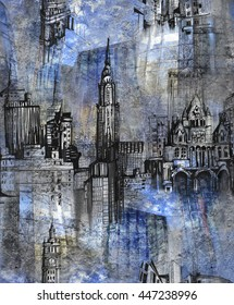 Urban sketches pattern with texture background