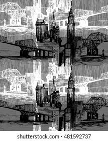 Urban skyline black and white pattern