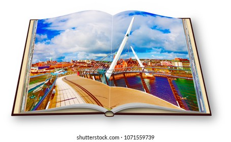 """Urban skyline of Derry city (also called Londonderry) with the """"Peace Bridge"""" (Europe - Northern Ireland) - 3D render concept image of an opened photo book"""