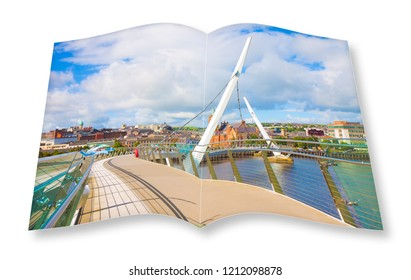 Urban skyline of Derry city (also called Londonderry) in northern Ireland with the famous Peace Bridge - 3D rendering - opened photobook concept image
