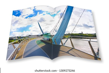 Urban skyline of Derry city (also called Londonderry) in northern Ireland with the famous Peace Bridge (Europe - Northern Ireland) - 3D rendering concept image of an opened photo book isolated on whit