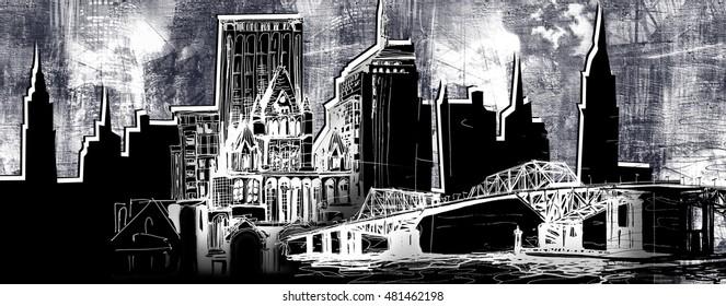 Urban skyline illustration with silhouette panorama