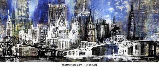 Urban skyline panorama illustration