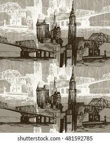 Urban skyline sepia pattern