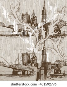 Urban skyline sepia pattern with branches