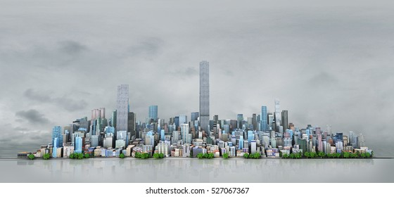 Urban skyline. View to modern city from high-rise buildings in bad weather. 3d illustration