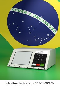 Urn electronics, Brazil election 2018. 3d Illustration
