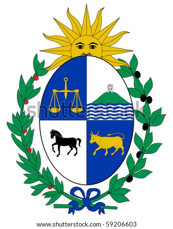 Uruguay Coat Arms Seal National Emblem Stock Illustration 59206603
