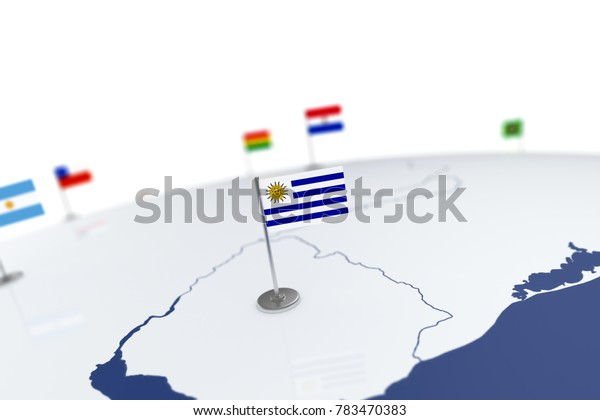 Uruguay flag. Country flag with chrome flagpole on the world map with neighbors countries borders. 3d illustration rendering flag