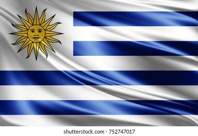 Uruguay flag of silk-3D illustration