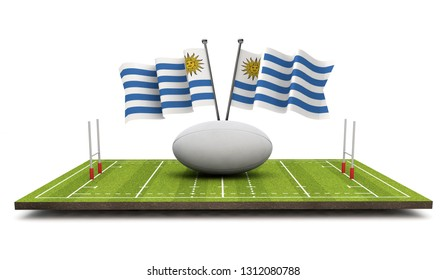 Uruguay flags with a rugby ball and pitch. 3D Rendering