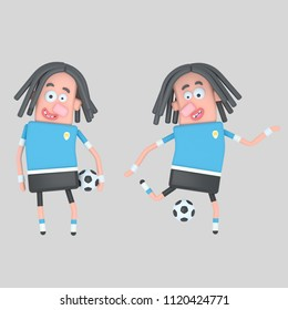 Uruguay  soccer player. 3d illustration
