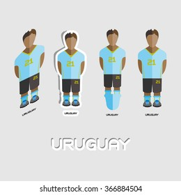 Uruguay Soccer Team Sportswear Template. Front View of Outdoor Activity Sportswear for Men and Boys. Digital background raster illustration. Stylish design for t-shirts, shorts and boots.