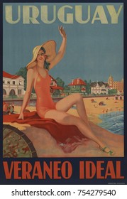 Uruguay, Veraneo Ideal. 1930s travel poster shows a bathing beauty at the beach.