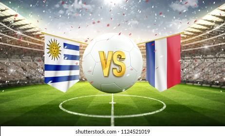 Uruguay vs France. Soccer concept. White soccer ball with the flag in the stadium, 2018. 3d render