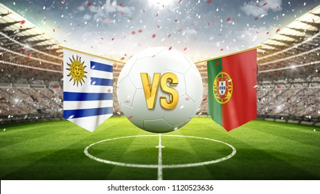 Uruguay vs Portugal. Soccer concept. White soccer ball with the flag in the stadium, 2018. 3d render