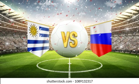 Uruguay vs Russia. Soccer concept. White soccer ball with the flag in the stadium, 2018. 3d render