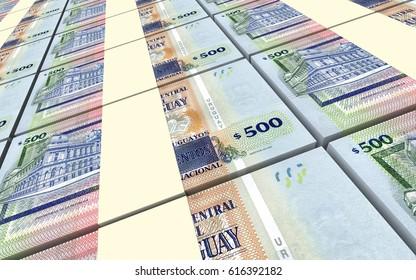 Uruguayan peso bills stacks background. 3D illustration.