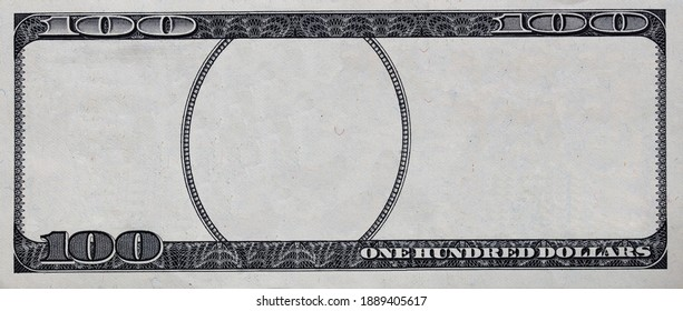 U.S. 100 dollar border with empty middle area for design purpose