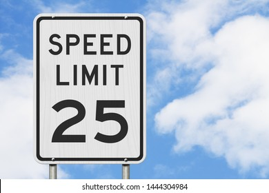 US 25 mph Speed Limit sign isolated with sky background 3D Illustration