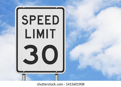 US 30 mph Speed Limit sign isolated with sky background 3D Illustration