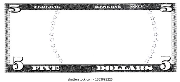 U.S. 5 dollar border with empty middle area