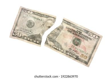 US 50 Dollar Bill Torn 3D illustration on white background