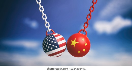 US of America and China relations. USA and Chinese flags wrecking balls swinging on blue cloudy sky background. 3d illustration
