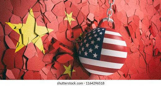 US of America and China relations. USA flag wrecking ball breaking a Chinese flag wall. 3d illustration