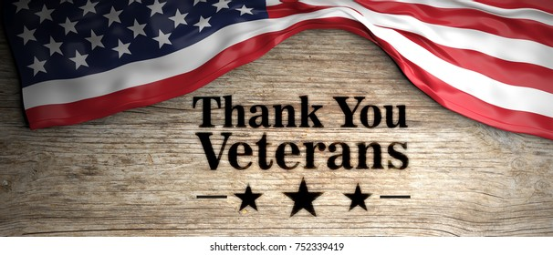 US America crumpled flag with thank you veterans patriotic message. Wooden background. 3d illustration