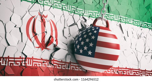 US of America and Iran relations. USA flag wrecking ball breaking a Iran flag wall. 3d illustration