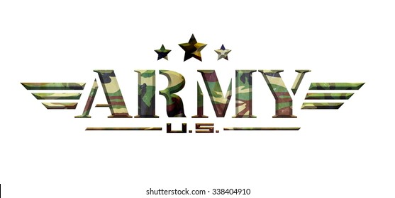 US Army logo military camouflage background