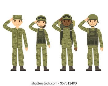 US Army soldiers, men and woman, in camouflage uniform saluting. Cute flat cartoon style illustration.
