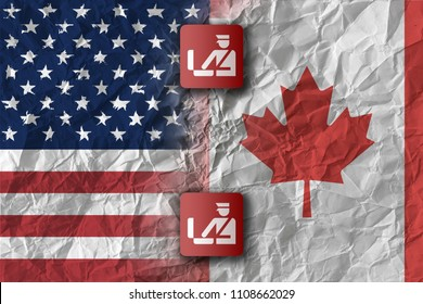 US and Canada, trade war and border control concept